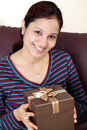 Woman holding gift boxes Royalty Free Stock Images