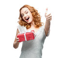 Woman holding gift caucasian happy isolated on white background Stock Images
