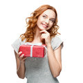 Woman holding gift caucasian happy isolated on white background Royalty Free Stock Photo