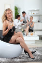 Woman holding glass of champagne Stock Photo