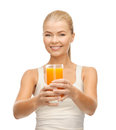 Woman holding glass of orange juice young Royalty Free Stock Photo