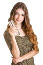 Woman holding a glass of water sexy in white background Royalty Free Stock Images