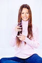 Woman holding glass of wine happy Royalty Free Stock Photo