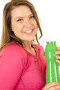 Woman holding a green water bottle drink hydrate hydration Royalty Free Stock Photo