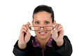 Woman holding her glasses Stock Images