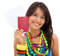 Woman holding her passport Royalty Free Stock Photo