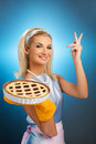 Woman holding hot italian pie Stock Images
