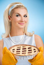 Woman holding hot italian pie Royalty Free Stock Photo
