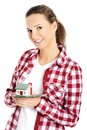 Woman holding a house model Royalty Free Stock Photo