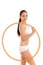 Woman holding hula hoop Stock Photos