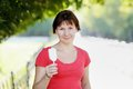 Woman holding ice cream Royalty Free Stock Image
