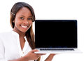 Woman holding a laptop Royalty Free Stock Photo