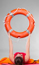 Woman holding life buoy ring Royalty Free Stock Photo