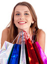 Woman holding lots of shopping bags in her hand Royalty Free Stock Images