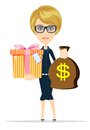 Woman holding a money bag and gift box Royalty Free Stock Photo