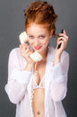 Woman Holding Old and New Phone Royalty Free Stock Photography