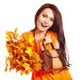 Woman holding  orange handbag. Royalty Free Stock Photo