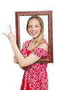 Woman holding picture frame isolated on white Stock Photos