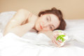 Woman holding a plant (focus on sprout) Royalty Free Stock Photos