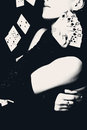 Woman holding playing cards, retro style photo. Royalty Free Stock Photo