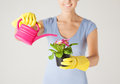 Woman holding pot with flower Royalty Free Stock Images