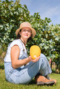Woman holding a pumpkin in her hands Royalty Free Stock Images