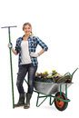 Woman holding a rake next to a wheelbarrow full length portrait of and posing full of gardening equipment and flowers isolated Stock Images