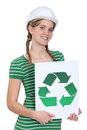 Woman holding a recycling label Royalty Free Stock Photos