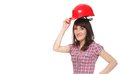 Woman holding red helmet Stock Photo