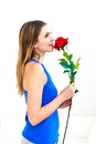 Woman holding red rose beautiful young on white background Stock Images