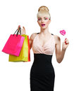 Woman holding shopping bag isolated on white background Royalty Free Stock Photo