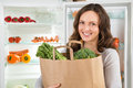 Woman Holding Shopping Bag With Vegetables Royalty Free Stock Photo
