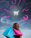 Woman holding shopping bags and looking at a drawing of cart with pink arrows Stock Images