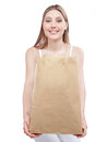 Woman holding shopping paper bag young happy Royalty Free Stock Image