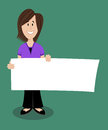 Woman holding sign standing and a blank Stock Photography