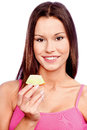 Woman holding slice of melon young yellow Royalty Free Stock Photos