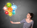 Woman holding social media balloon Royalty Free Stock Images