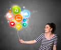 Woman holding social media balloon pretty young colorful icons Stock Photos