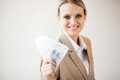 Woman holding south african money Stock Photography