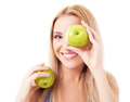 Woman  holding two apples Royalty Free Stock Photo