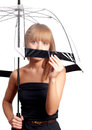 Woman holding umbrella Stock Photos