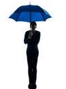 Woman holding umbrella pouting silhouette Royalty Free Stock Photo