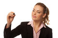 Woman holding up a pen writing Royalty Free Stock Photo