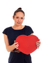 Woman holding Valentines Day heart sign Stock Images