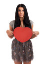 Woman holding Valentines Day heart sign Royalty Free Stock Photography