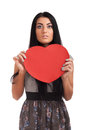 Woman holding Valentines Day heart sign Royalty Free Stock Photo