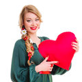 Woman holding Valentines heart Stock Photography