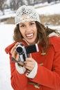 Woman Holding Video Camera.