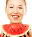 Woman holding watermelon ready to take a bite against white background Royalty Free Stock Photo