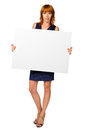Woman holds a banner studio white background Royalty Free Stock Photography